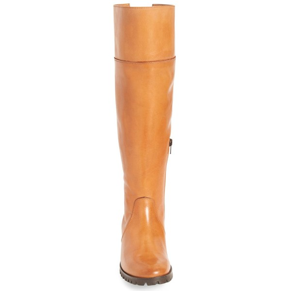 Tan Fashion Boots Round Toe Flat Riding Boots image 3