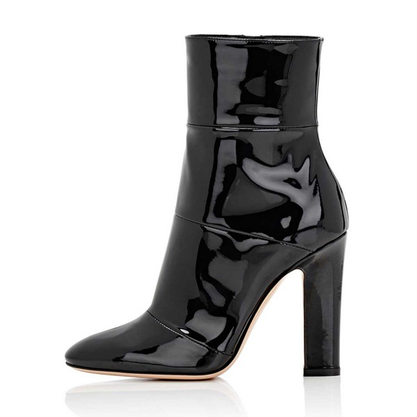 Black Chunky Heel Boots Patent Leather Pointy Toe Ankle Booties image 4