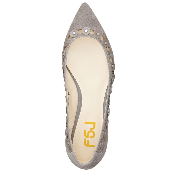 Grey Suede Hollow out Pointy Toe Flats Studs Shoes image 3