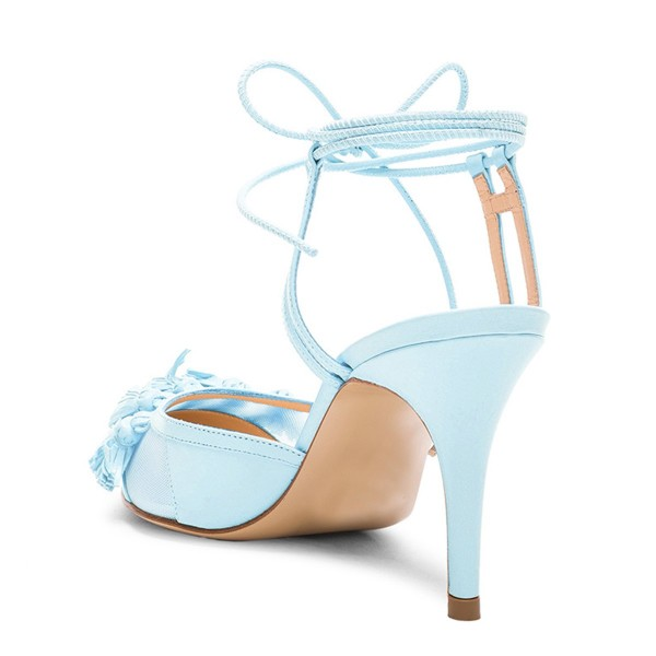 women 39 s light blue tassels decorated strappy stiletto heel sandals. Black Bedroom Furniture Sets. Home Design Ideas