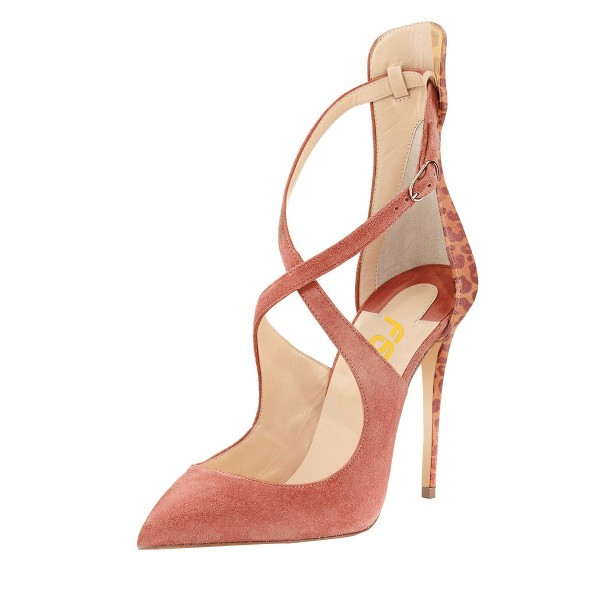 Pink Stiletto Heels Closed Toe Sandals Cross-over Strap Suede Shoes image 1