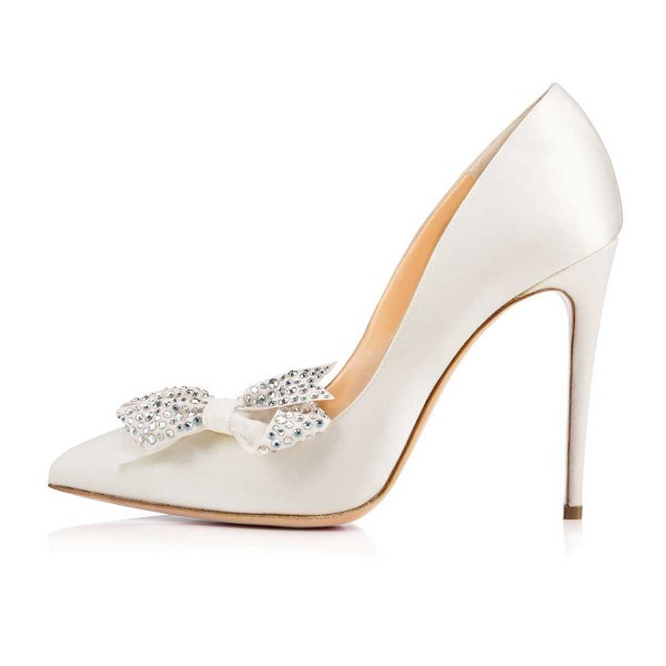 White Bridal Heels Rhinestone Bow Stiletto Heel Pumps image 5