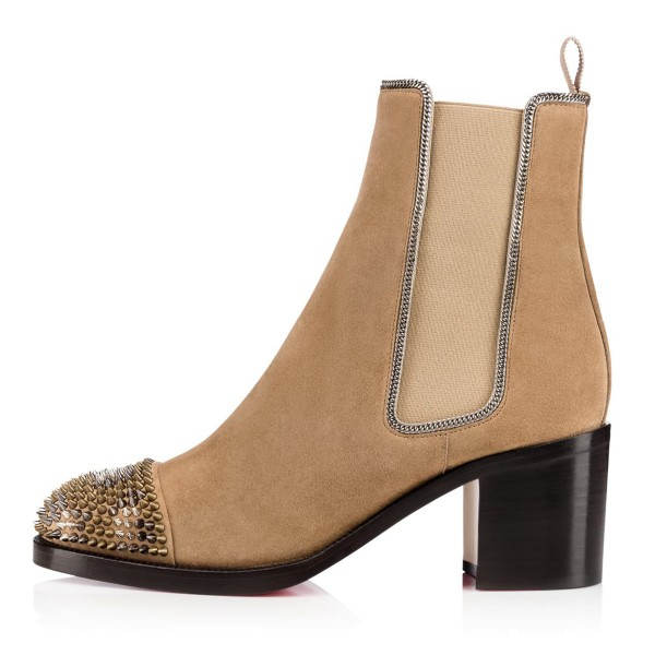 Khaki Chunky Heel Boots Rivets Round Toe Suede Ankle Boots image 4