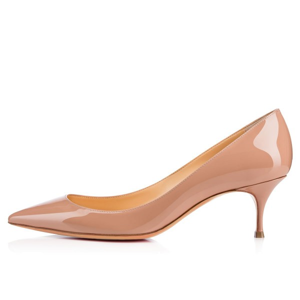 Women's Blush Pointy Toe Patent Leather Kitten Heels Pumps image 2
