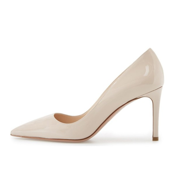 On Sale Beige Stiletto Heels Pointy Toe Office Pumps image 5