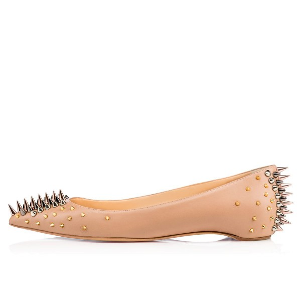 Apricot Pointy Toe Flats with Rivets for Female image 3