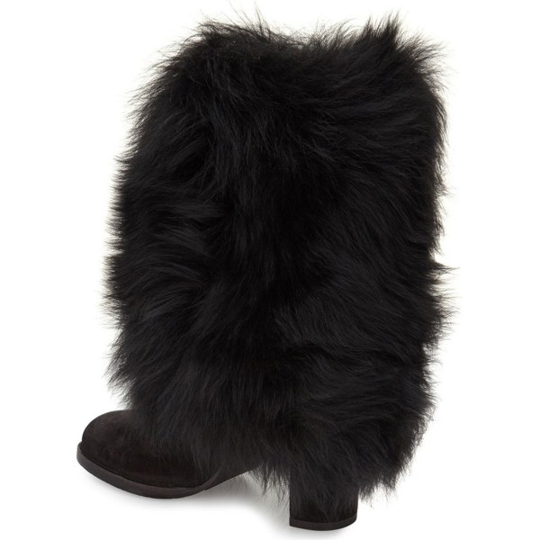 Black Fur Boots Chunky Heel Mid-calf Snow Boots image 2