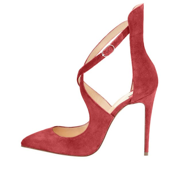 Red Suede Shoes Pointy Toe Cross over Strap Stiletto Heel Pumps image 3