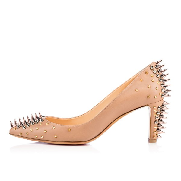 Apricot Chunky Heels Pointy Toe Pumps Party Shoes with Rivets  image 2