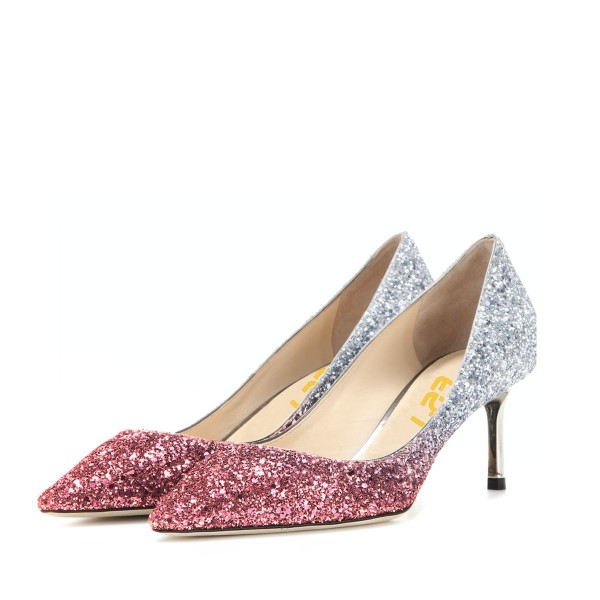 Pink and Silver Bridal Heels Sparkly Pointy Toe Glitter Kitten Heels Pumps image 1