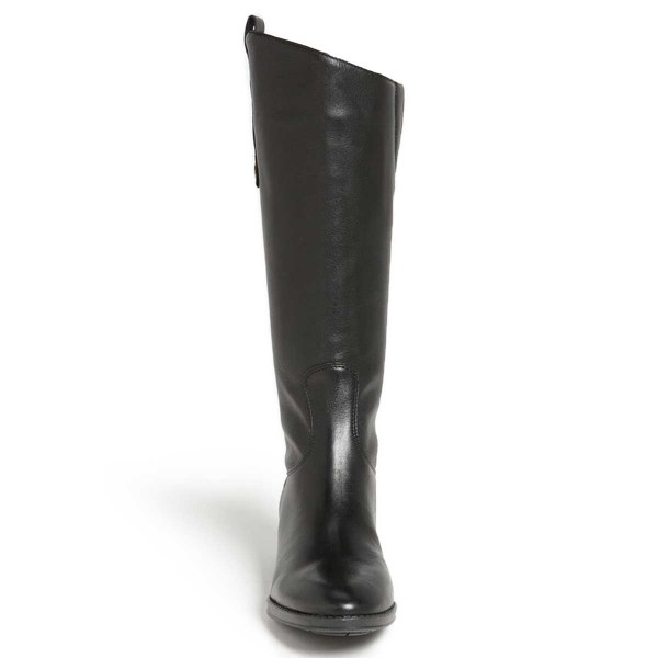 Black Riding Boots Fashion Vegan Leather Low Heel Knee Boots image 2