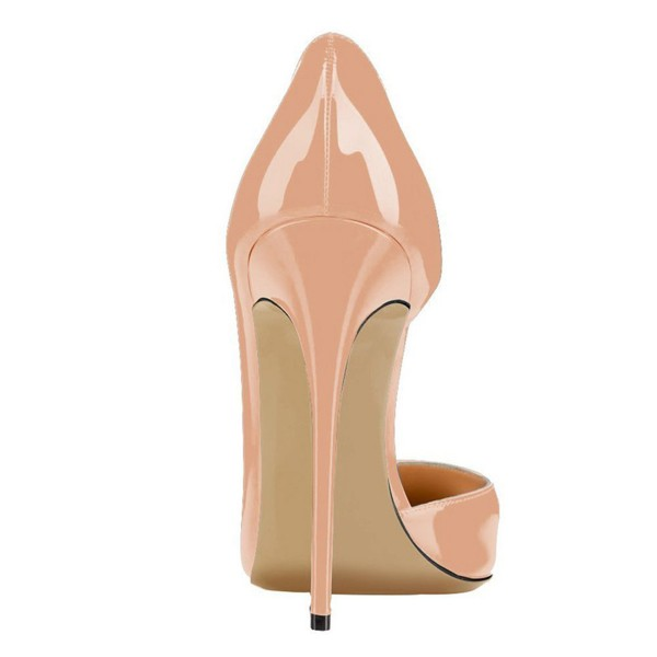 Blush Heels Patent Leather Nude D'orsay Pumps Stiletto Heels image 4