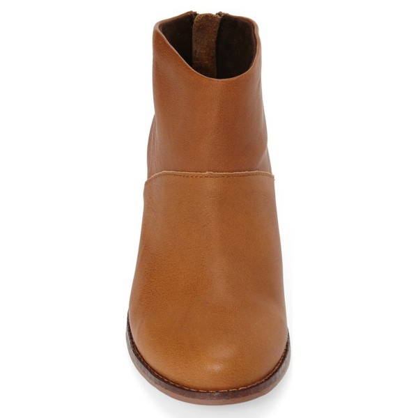 Tan Boots Round Toe Wooden Chunky Heel Vintage Ankle Booties image 2
