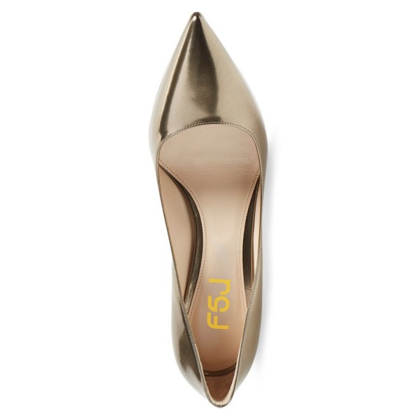 Champagne Kitten Heels Pointy Toe Metallic Heels Pumps for Office Lady image 2