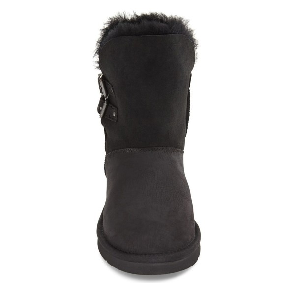 Black Winter Boots Round Toe Flat Comfy Mid Calf Snow Boots image 2