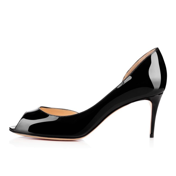 On Sale Black Office Heels Patent Leather Peep Toe D'orsay Pumps image 4
