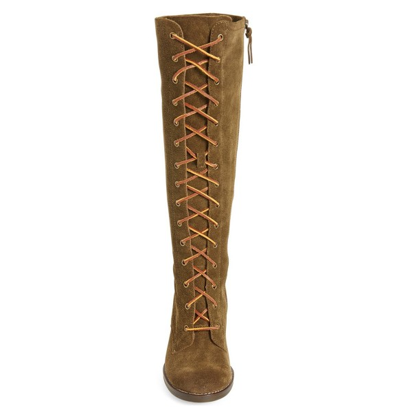 Brown Lace up Boots Knee-high Suede Chunky Heels  image 3