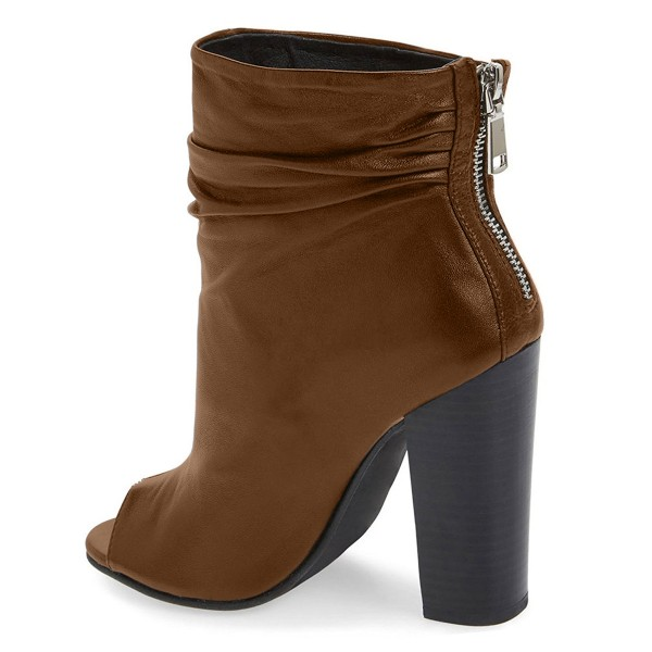 Brown Slouch Boots Chunky Heel Peep Toe Ankle Booties for Women image 4