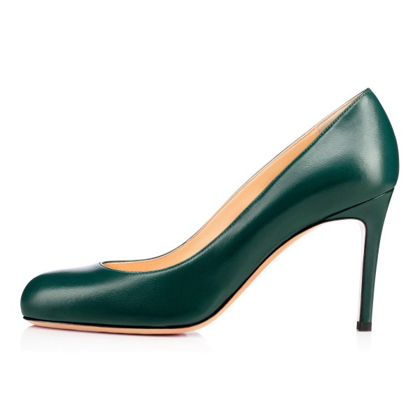 On Sale Green Round Toe Stiletto Heel Pumps 3 Inch Heels image 2