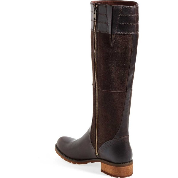 Dark Brown Riding Boots Side Zipper Round Toe Low Heel Knee Boots image 3