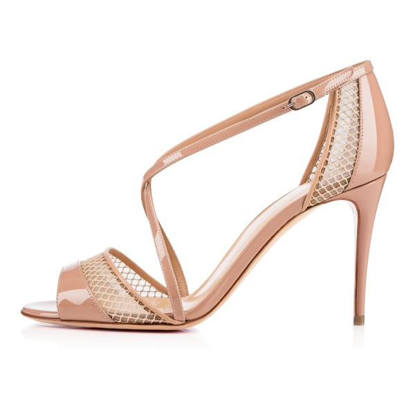 Women's Nude Mesh Cross-Over Strappy Stiletto Pumps Heel Sandals image 4