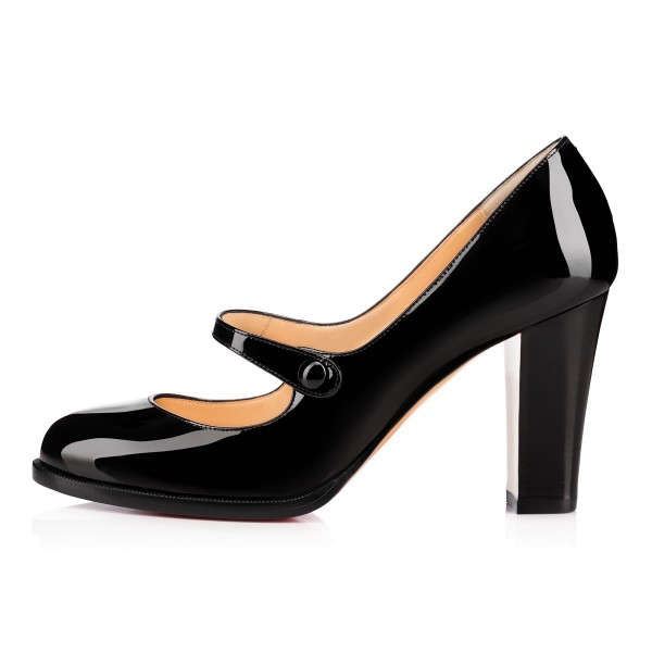 Black Mary Jane Pumps Patent Leather Block Heel Vintage Shoes image 3