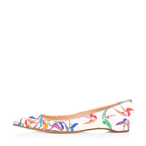 White Floral Pointy Toe Flats Comfortable Cute Shoes image 3