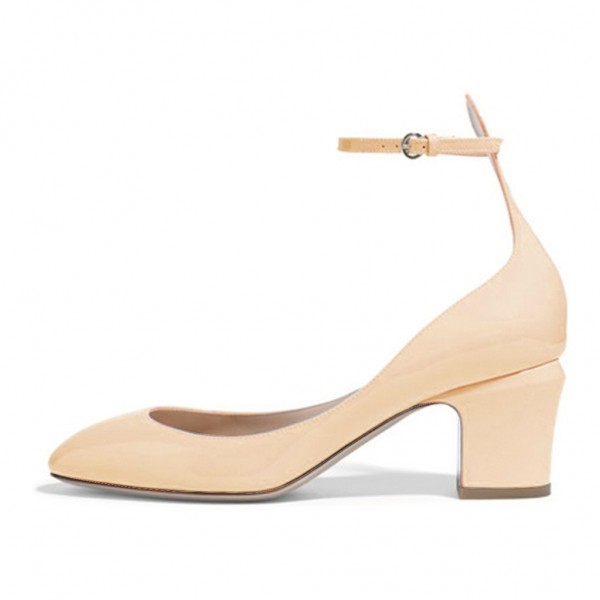 Nude Ankle Strap Heels Round Toe Chunky Heel Pumps for Ladies image 1