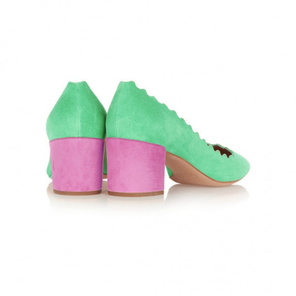 Green and Magenta Chunky Heels Suede Round Toe Pumps image 4