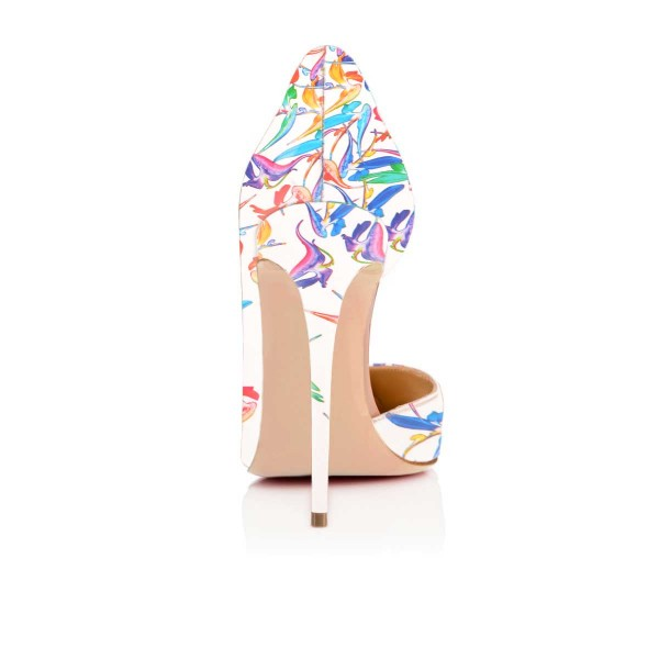 White Floral Heels Pointy Toe D'orsay Pumps Stiletto Heels image 3