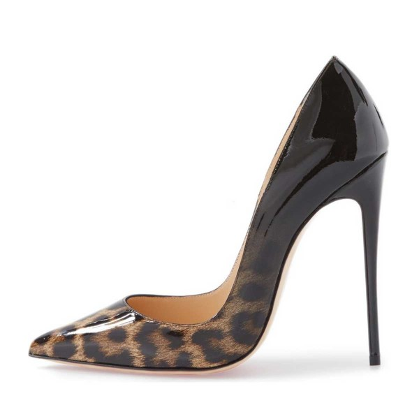 Leopard-Print Black Gradient Pointed Toe Pencil Heel Pumps image 2