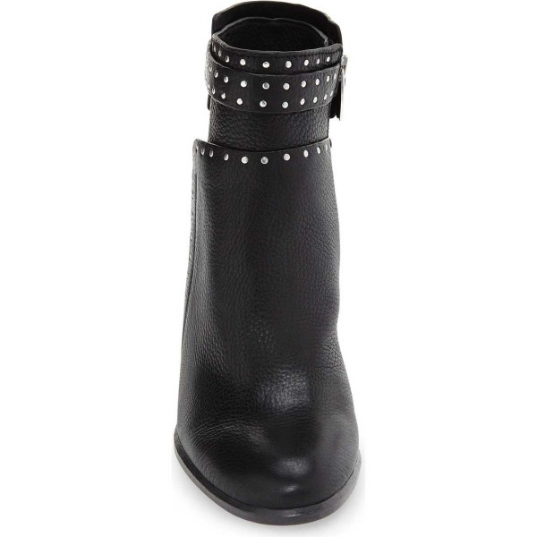 Black Chunky Heel Boots Round Toe Studded Ankle Booties image 3