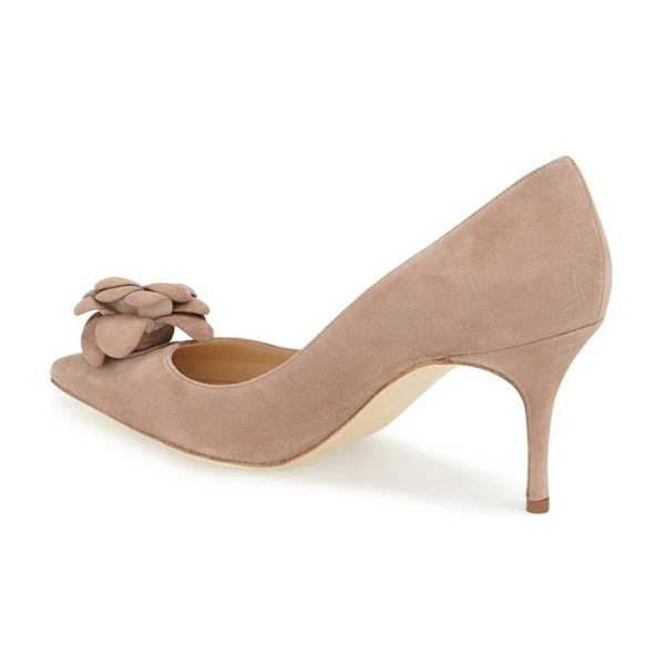 Light Brown Suede Shoes Pointy Toe Kitten Heel Pumps with Flower image 2