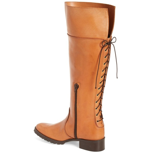 Tan Fashion Boots Round Toe Flat Riding Boots image 2