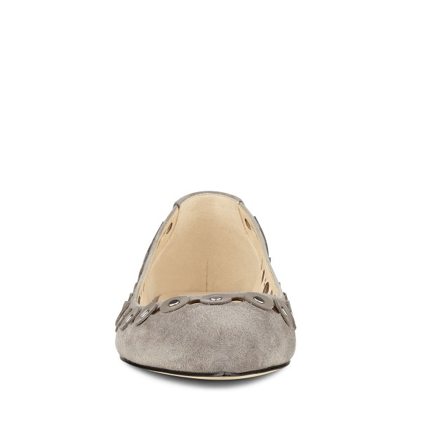 Grey Suede Hollow out Pointy Toe Flats Studs Shoes image 2