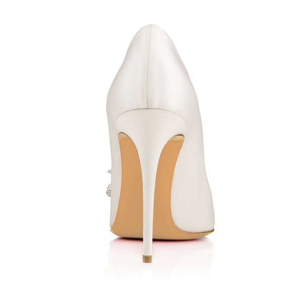 White Bridal Heels Rhinestone Bow Stiletto Heel Pumps image 4
