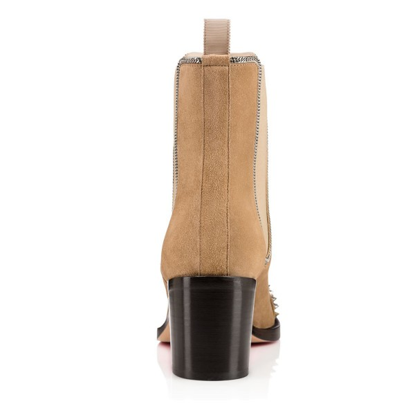 Khaki Chunky Heel Boots Rivets Round Toe Suede Ankle Boots image 3