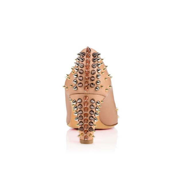 Apricot Chunky Heels Pointy Toe Pumps Party Shoes with Rivets  image 5
