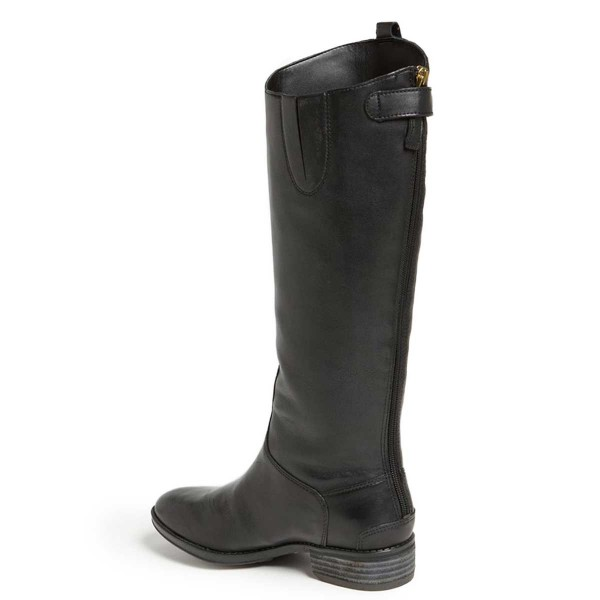 Black Riding Boots Fashion Vegan Leather Low Heel Knee Boots image 3