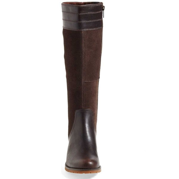 Dark Brown Riding Boots Side Zipper Round Toe Low Heel Knee Boots image 2