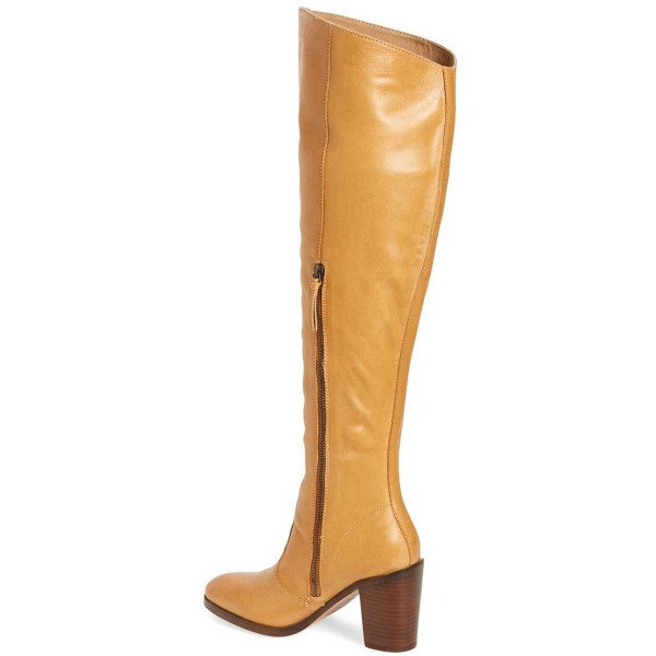 Mustard Knee Boots Round Toe Chunky Heel Long Boots by FSJ image 2