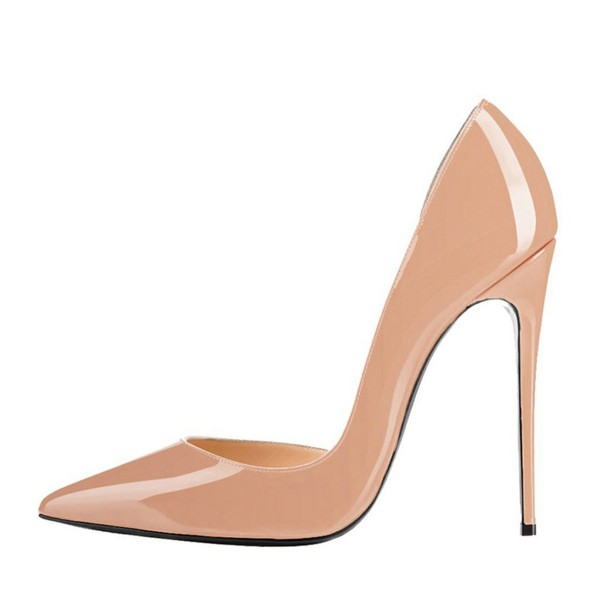 Blush Heels Patent Leather Nude D'orsay Pumps Stiletto Heels image 2