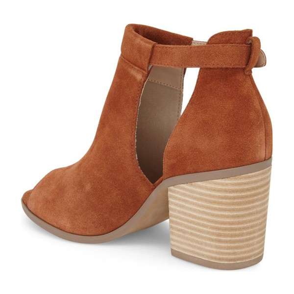 FSJ Tan Cut Out Boots Suede Wooden Block Heel Peep Toe Ankle Boots image 3