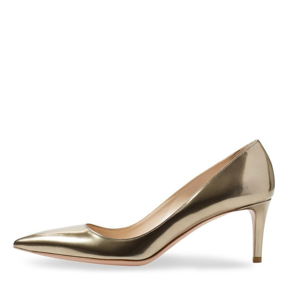 Champagne Kitten Heels Pointy Toe Metallic Heels Pumps for Office Lady image 6