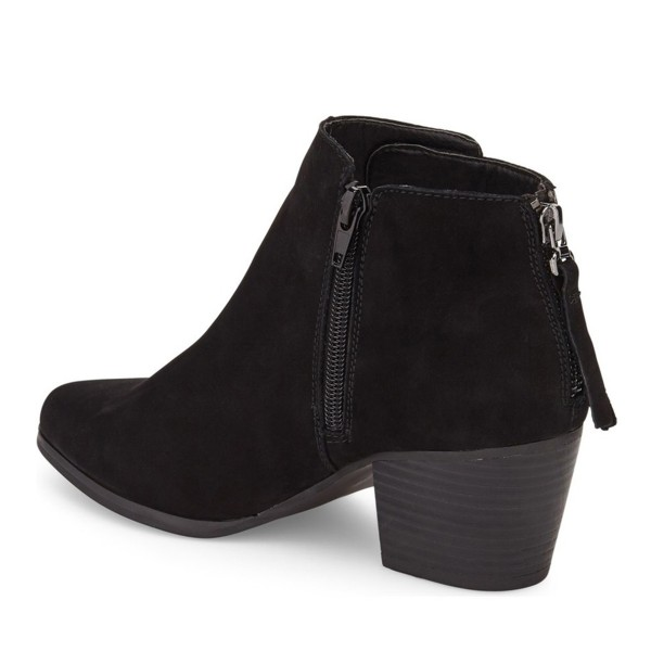 Black Chunky Heel Boots Suede Boots Round Toe Ankle Booties image 2