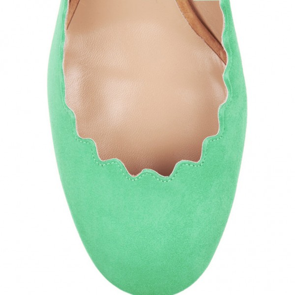 Green and Magenta Chunky Heels Suede Round Toe Pumps image 3