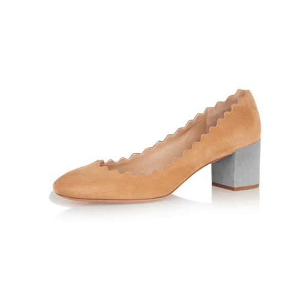 Women's Tan Commuting Chunky Heels Pumps Shoes image 1