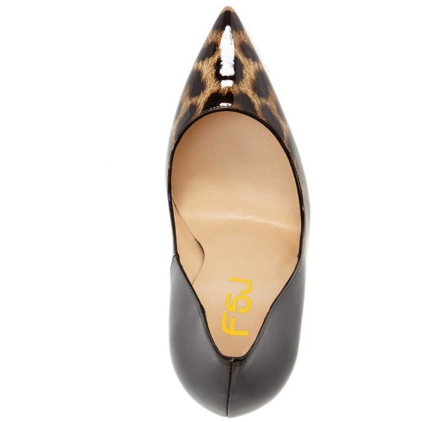 Leopard-Print Black Gradient Pointed Toe Pencil Heel Pumps image 4