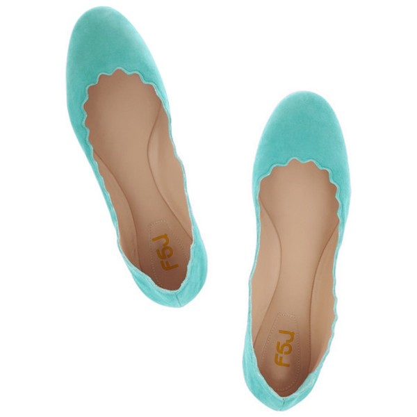 Adorable Cyan Flats for Girl image 3