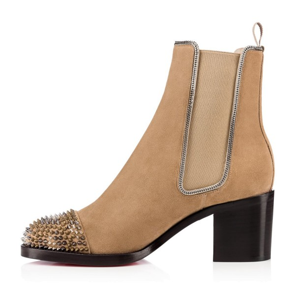 Khaki Chunky Heel Boots Rivets Round Toe Suede Ankle Boots image 2